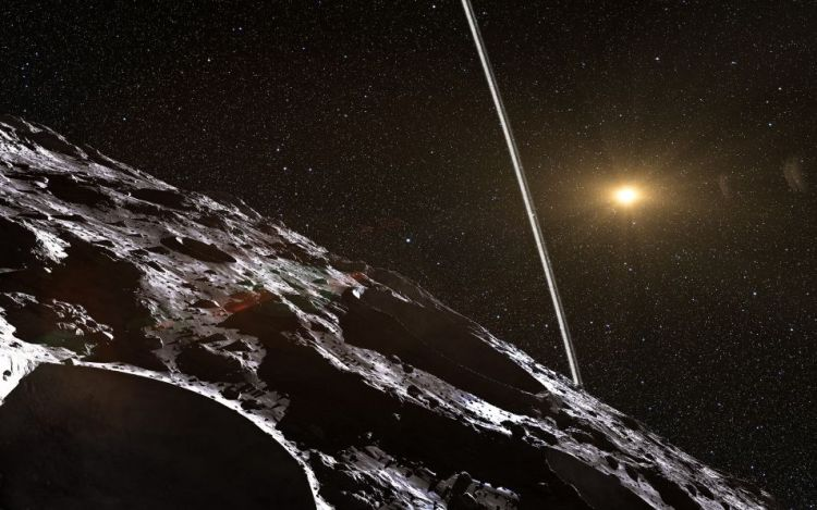 Als je op het oppervlak van Chariklo zou kunnen staan, zou je de ringen goed kunnen zien. Afbeelding:  ESO / L. Calçada / Nick Risinger (skysurvey.org).