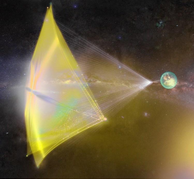 Het ruimtevaartuig reist op hoge snelheid naar Alpha Centauri.