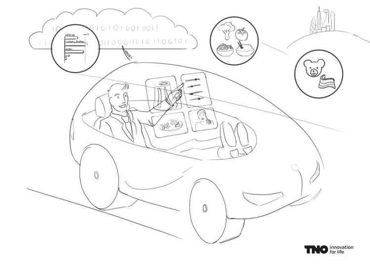 Vanuit je zelfrijdende auto de printer opdracht geven om iets lekkers te printen. Verre toekomstmuziek? Afbeelding: TNO.