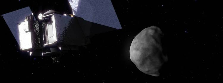 OSIRIS REx arriveert bij Bennu. Afbeelding: NASA's Goddard Space Flight Center Conceptual Image Lab.