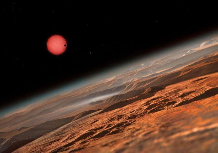 Nog een artistieke impressie. Hier zie je de ultrakoele dwerg vanuit de omgeving van één van zijn planeten. Afbeelding: ESO / M. Kornmesser.