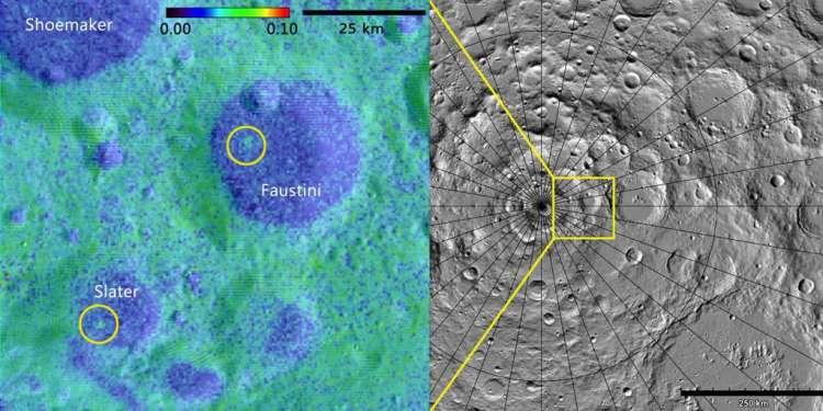 Rechts zie je de jongste krater (16 miljoen jaar oud) en links de krater die tussen de 75 en 420 miljoen jaar oud. Afbeelding links: NASA GSFC / SwRI. Afbeelding rechts: NASA GSFC / ASU Jmoon.
