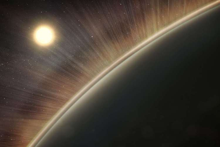 Een artistieke impressie van de elektrische wind op Venus. De 'stralen' die je ziet, geven aan welke route de zuurstof- en waterstofionen volgen wanneer ze uit het bovenste deel van de atmosfeer worden getrokken. Afbeelding: NASA / Goddard / Conceptual Image Lab, Krystofer Kim.