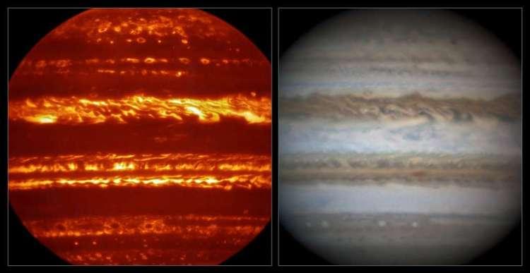 Links zie je Jupiter in infrarood, rechts in zichtbaar licht. Afbeelding: ESO / L.N. Fletcher / Damian Peach.