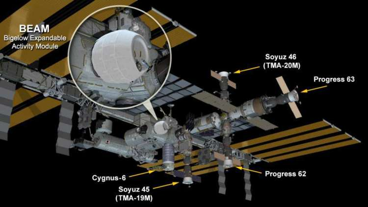Hier zie je de opblaasbare ruimtemodule aan het ISS vastzitten. Afbeelding: NASA.