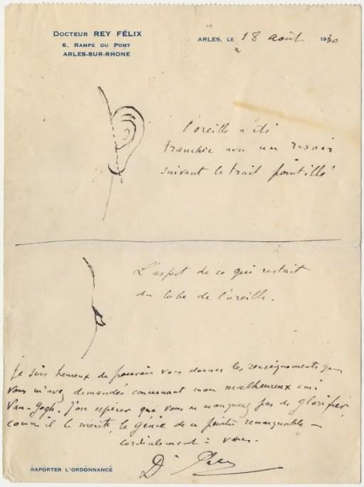 Hier zie je de brief van Félix Rey. De stippellijn geeft aan waar Van Gogh in zijn oor sneed. Afbeelding: The Bancroft Library, University of California, Berkeley.