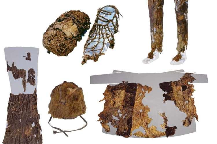 Hier zie je onder meer enkele kledingstukken die Ötzi droeg. Afbeelding: Museum of Archaeology Bolzano.