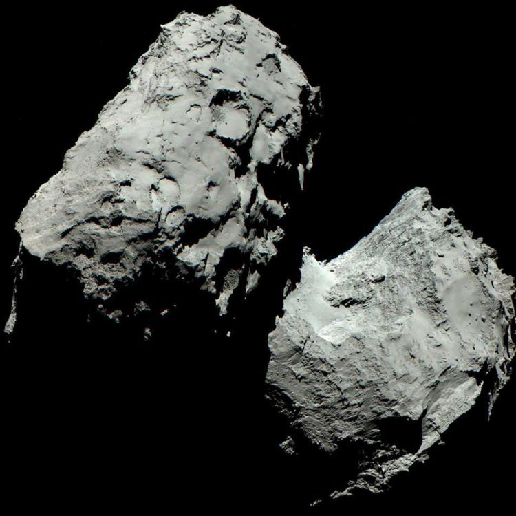 Komeet 67P: een kosmisch badeendje. Afbeelding: ESA / Rosetta / MPS for OSIRIS Team MPS / UPD / LAM / IAA / SSO / INTA / UPM / DASP / IDA.