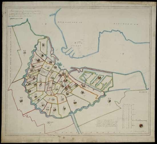 Een kaart van de laatste grote cholera-epidemie in Amsterdam. In de krottenwijken vielen aanzienlijk meer slachtoffers dan in de chique grachtengordels. Afbeelding: Stadsarchief Amsterdam.