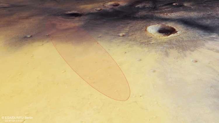Als alles volgens plan gaat, landt Schiaparelli in het cirkelvormige gebied. Afbeelding: Afbeelding: ESA / DLR / FU Berlin.
