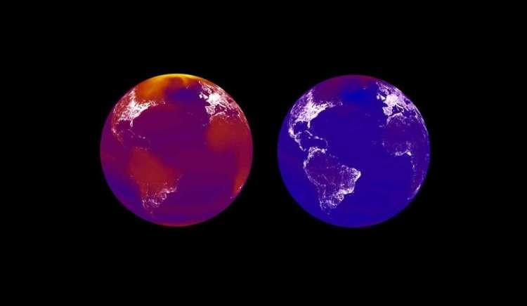 Twee simulaties van de aarde in 2100: links oververhit, rechts met een zwaar klimaatbeleid. Des te rijker de landen, des te meer ze gloeien. Een oververhitte aarde (links) herverdeelt rijkdom van arme naar rijke landen.