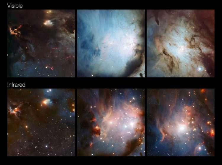 Hier zie je verschillende delen van M78 en omgeving. Boven zie je opnamen in zichtbaar licht. Onder in infraroodlicht. Op de onderste beelden is het stof doorschijnender. Afbeelding: ESO / Igor Chekalin.