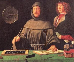 In this portrait of Luca Pacioli, from 1495, you can see a rhombicuboctahedron (half filled with <a href='/topic.cfm?id=water' >water</a>)