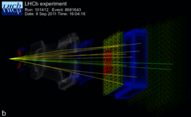 Particle tracks from LHCb experiment