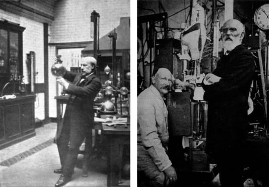 James Dewar (a sinistra) e Kamerlingh Onnes (a destra, con Van Der Waals) mentre posano nei loro laboratori.