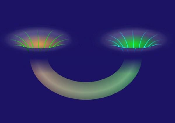 """Uno wormhole può collegare due regioni distanti dell'Universo con un tragitto """"diverso"""", potenzialmente anche molto più corto. (immagine Alan Stonebraker/American Physical Society)"""