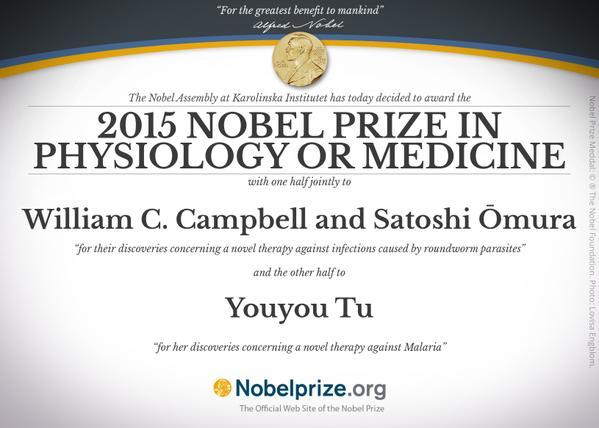 Nobel 2015 per medicina e fisiologia: combattere la Malaria e le malattie causate da parassiti