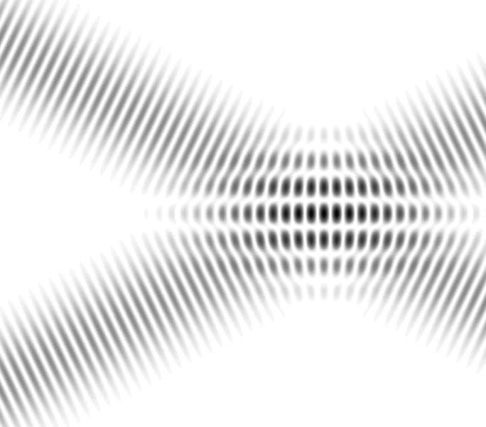 Figura di interferenza prodotta da due onde piane: se una delle due onde arrivasse per un certo tempo in leggero ritardo rispetto all'altra, il pattern visibile all'incrocio delle onde cambierebbe e questo ci consentirebbe di sapere di quanto è cambiato il cammino ottico di uno dei bracci dell'interferometro. Nel caso di LIGO o VIRGO con una precisione molto inferiore al millimetro su lunghezze di decine di chilometri...