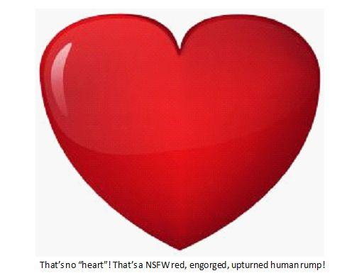 valentines heart as human  rump