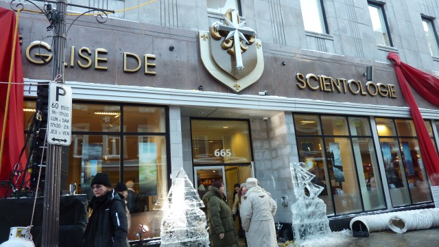 Ice sculptures at the entrance to the new Quebec Church of Scientology