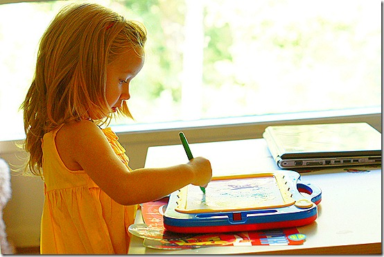 """""""Daddy - this is a painting of a bear and a rainbow. It's my important project."""""""