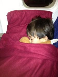Snuggled up on last flight home
