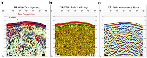Attributi istantanei Close-up e sismiche di derivazione della parte del profilo di sismica a riflessione TIR10/09, con dettagli strutturali del Capo Peloro anticlinale.