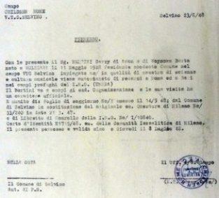 1948-06-23 Permesso Garry Bertini da Selvino ai campi profughi