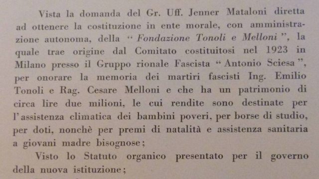 1933 Domanda per istituire la Fodazione Tonoli e Melloni