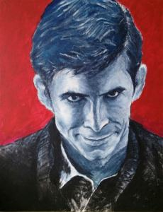 Painting of Anthony Perkins as Norman Bates