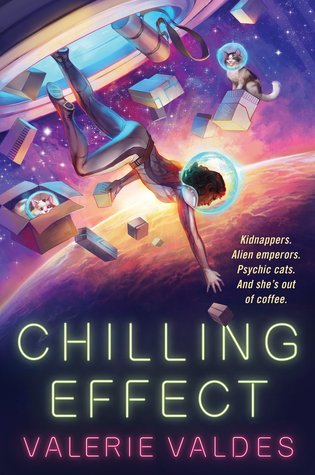 Chilling Effect Book Cover - showing an astronaut tumbling in space with bunches of cats wearing helmets sitting on or in boxes.
