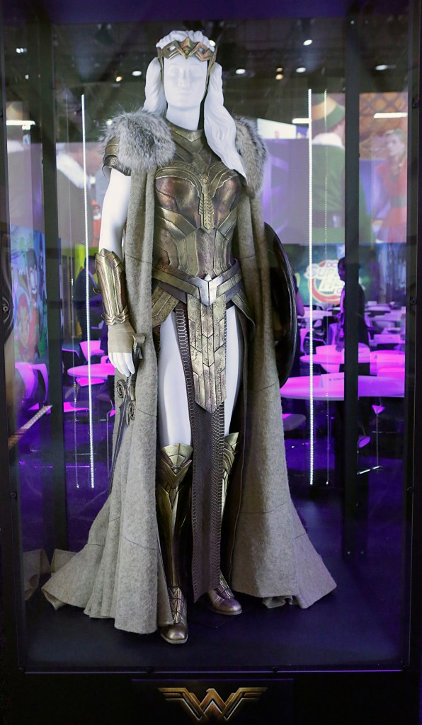 """The Queen Hippolyta costume worn by Connie Nielsen in the highly-anticipated film """"Wonder Woman"""" is unveiled at the Warner Bros. Consumer Products booth at Licensing Expo 2016 on Tuesday, June 21, 2016 in Las Vegas. (Photo by Bizuayehu Tesfaye/Invision for Warner Bros. Consumer Products/AP Images)"""