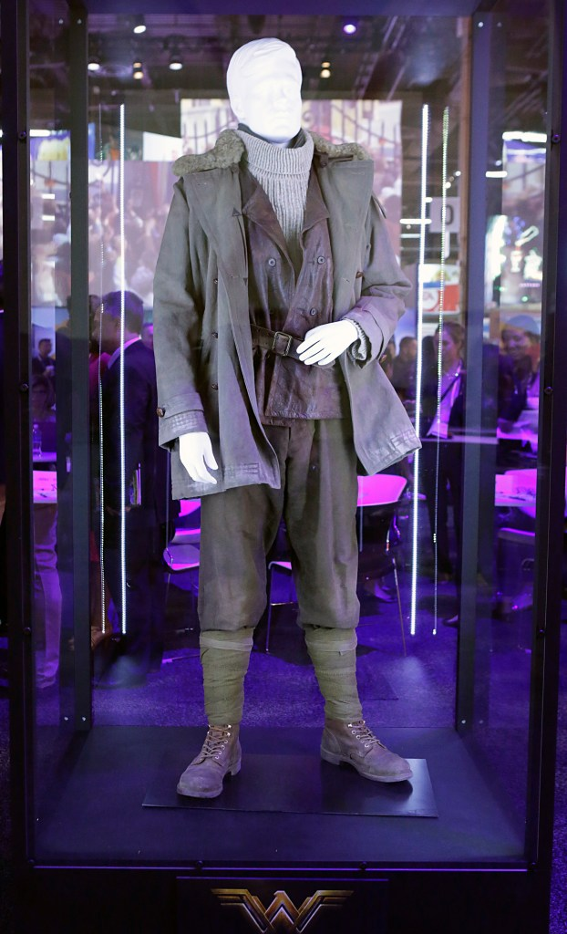 """The Steve Trevor costume worn by Chris Pine in the highly-anticipated film """"Wonder Woman"""" is unveiled at the Warner Bros. Consumer Products booth at Licensing Expo 2016 on Tuesday, June 21, 2016 in Las Vegas. (Photo by Bizuayehu Tesfaye/Invision for Warner Bros. Consumer Products/AP Images)"""