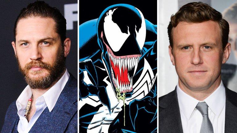 Courtesy of Marvel (Venom); Jason LaVeris/FilmMagic (Hardy), Jason Merritt (Fleischer), both Getty Images