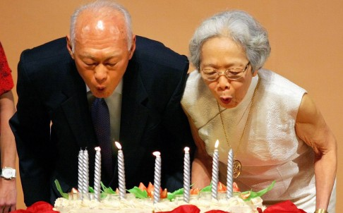 Lee and wife Kwa Geok Choo celebrating his 80th birthday. Photo: EPA