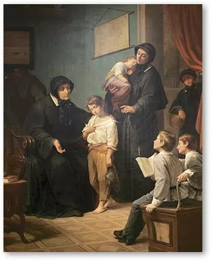 Depiction of the Sisters of Charity's first mission.