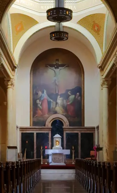 CMSV chapel featuring Constantino Brumidi's imposing painting of the Crucifixion in the apse.