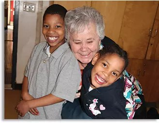 Fox House kids with Sr. Florence