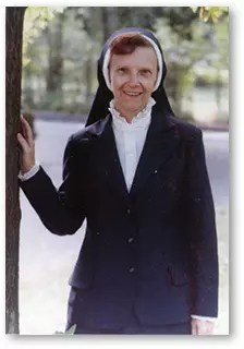 Sr. Joan Glowacki in religious attire in her earlier career.