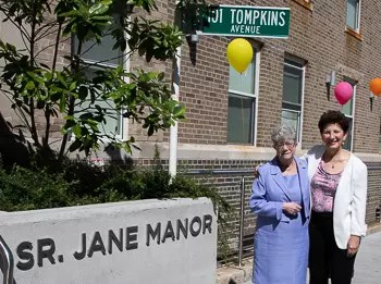 Sr. Jane and Marianne DiTommaso in front of the new Sr. Jane Manor residence.