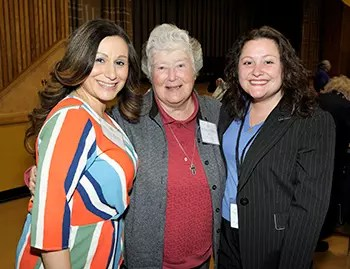 Sr. Nancy (center) at the 2018 CHS Reunion with Principal Spagnuolo (left) and past Director of Development Regina Cialone.