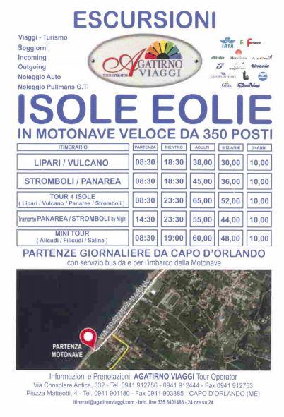 Alle Eolie  Le escursioni dellAgatirno viaggi  in motonave con partenza da Capo dOrlando
