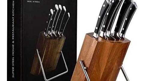Aicok 6 Pezzi Coltelli da Cucina in Acciaio Inossidabile con Legno utensili