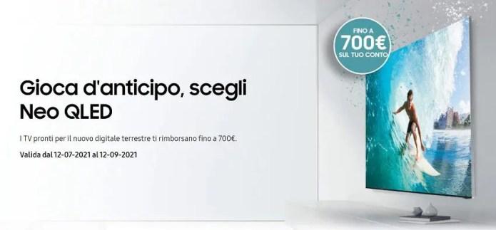 Samsung: rimborsi fino a 700€ con l'acquisto di TV Neo QLED