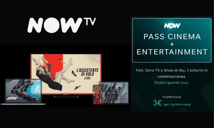 NOW TV: Per te subito il primo mese di Cinema e Intrattenimento a soli 3 euro