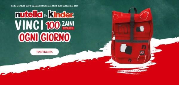 Nutella e Kinder: vinci 100 zaini Seven ogni giorno