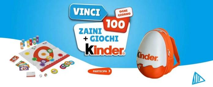 """Con """"Kinder Game 2021"""" puoi vincere ogni giorno 100 kit zaino+giochi"""