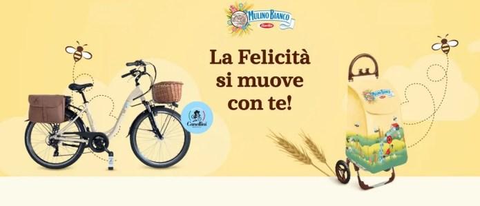 """Mulino Bianco """"La felicità si muove con te"""": vinci 35 biciclette elettriche o 100 carrellini portaspesa!"""