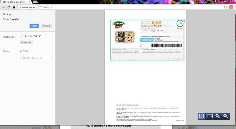 Come salvare i Buoni Sconto in PDF per stamparli in un secondo momento