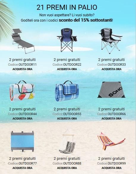 Premi Songmics SONGMICS Outdoor Giveaway: vinci sdraio pieghevole, sedia da campeggio, coperta da spiaggia o pic nic, poltrona sospesa o unamaca!